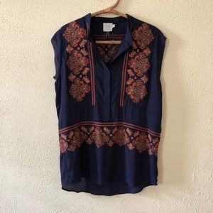 Anthropologie Embroidered Tunic L